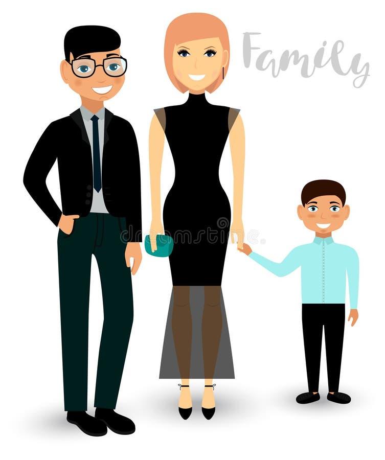 En lycklig familj är mamman, farsan och sonen i festlig kläder vektor vektor illustrationer