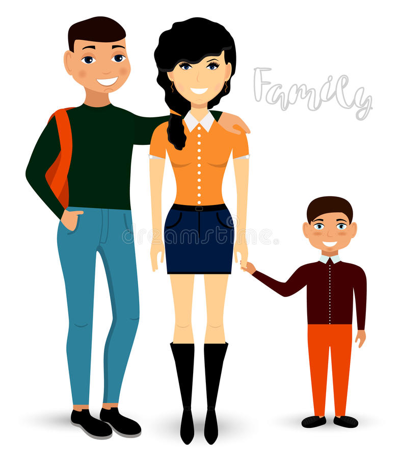 En lycklig familj är mamman, farsan och sonen i tillfällig kläder vektor vektor illustrationer
