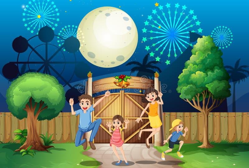 En lycklig familj nära porten royaltyfri illustrationer