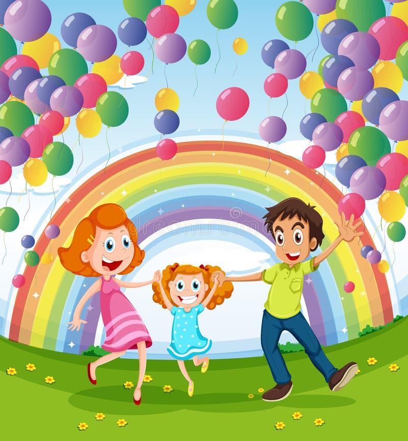 En lycklig familj nära regnbågen och ballongerna royaltyfri illustrationer