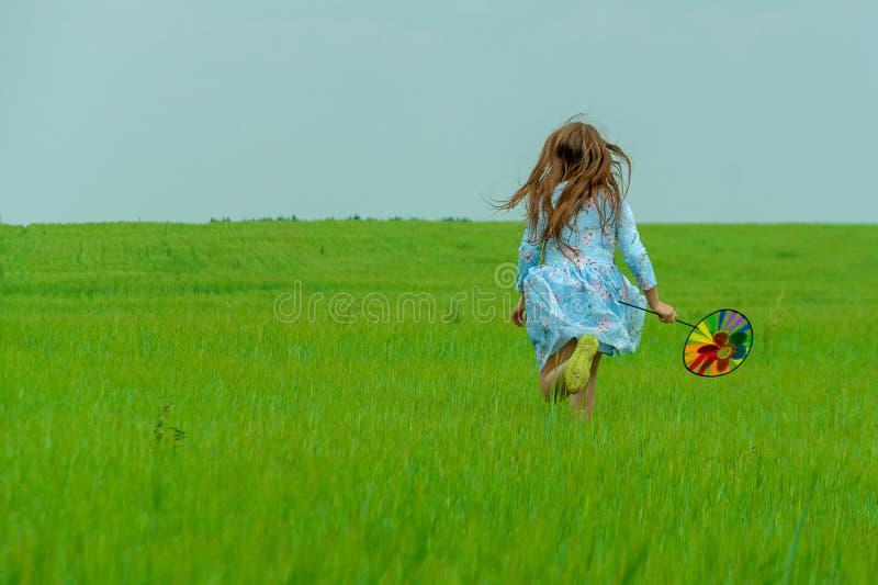 En lycklig flicka med långt hår stöter ihop med ett grönt fält med en väderkvarn i hennes händer arkivfoto