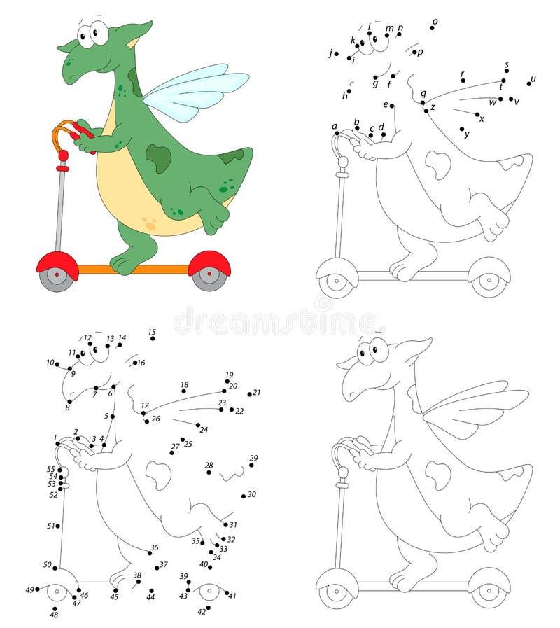 En lycklig grön drake rider en sparkcykel Färgläggningbok och prick stock illustrationer