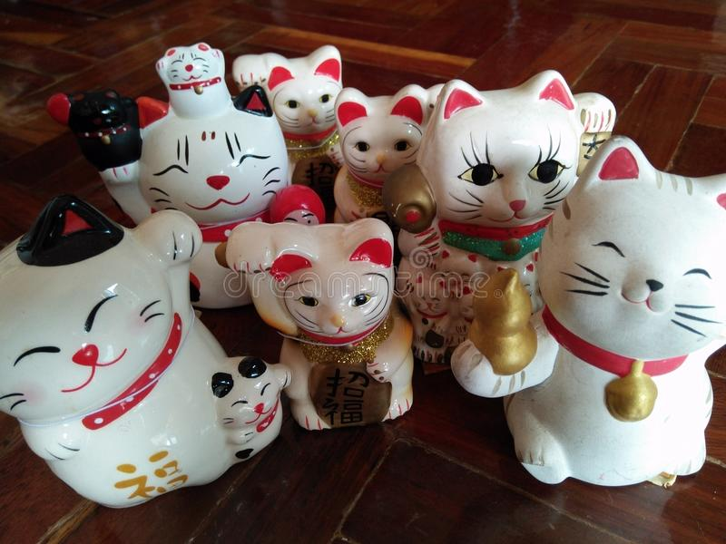 En lycklig kattfamilj arkivfoto