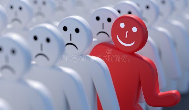 En lycklig man är ut ur folkmassan av många ledsna personer framförd illustration 3d royaltyfri illustrationer