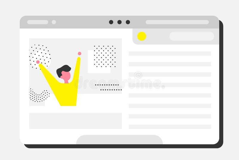 En lycklig man ser ut ur ett datorfönster royaltyfri illustrationer