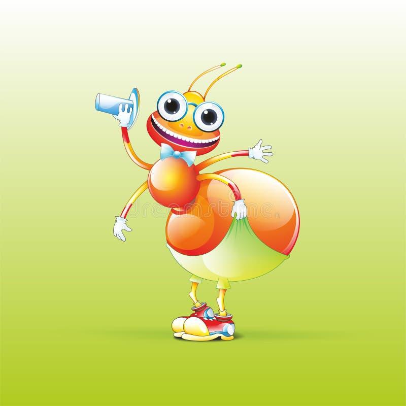 En lycklig myra stock illustrationer