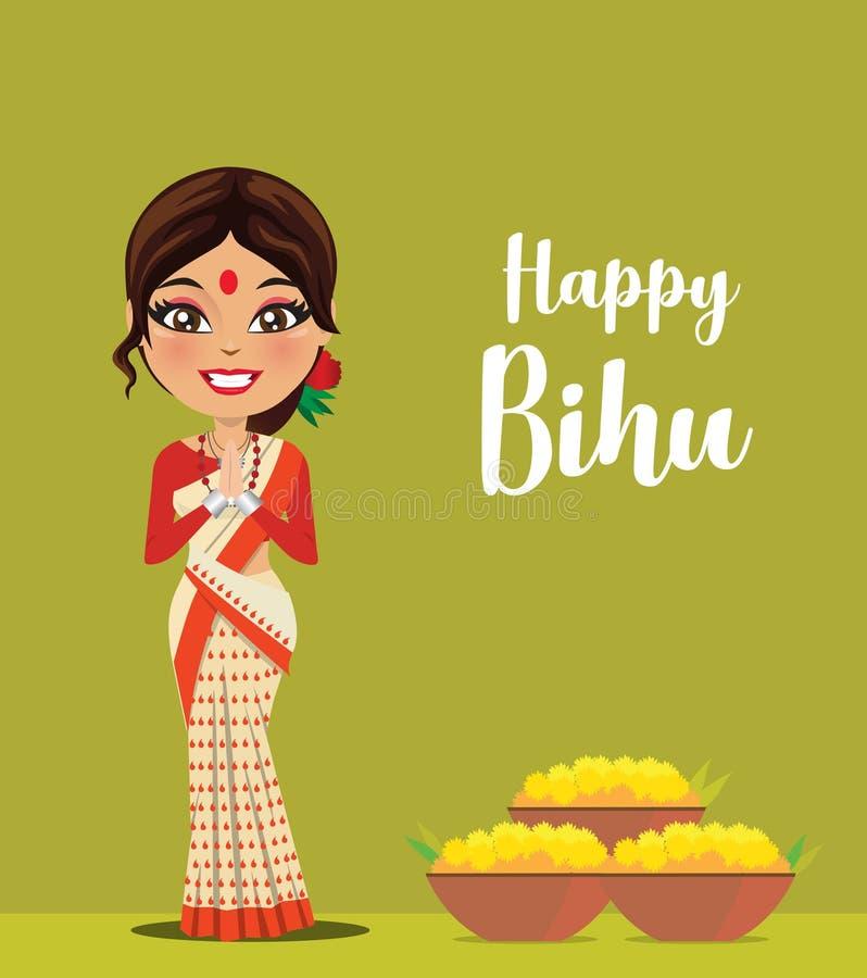 En lycklig och gullig indisk kvinna som bär en traditionell saree från staten av Assam i norr östliga Indien som firar festivalve stock illustrationer