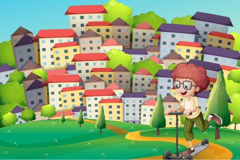 En lycklig pojke som spelar med en sparkcykel på kullarna stock illustrationer