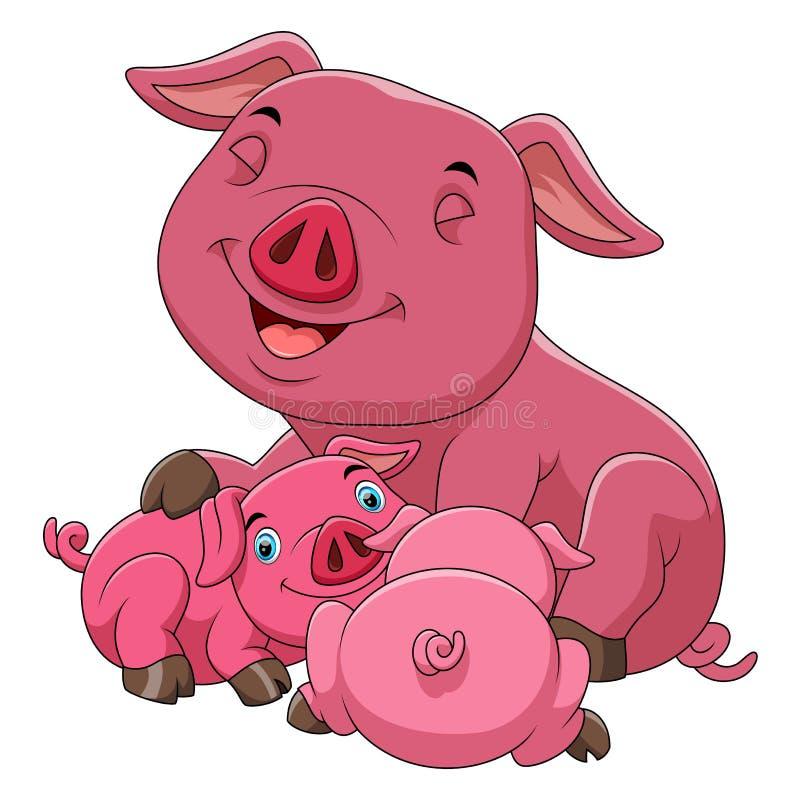 En lycklig svinfamilj för tecknad film royaltyfri illustrationer