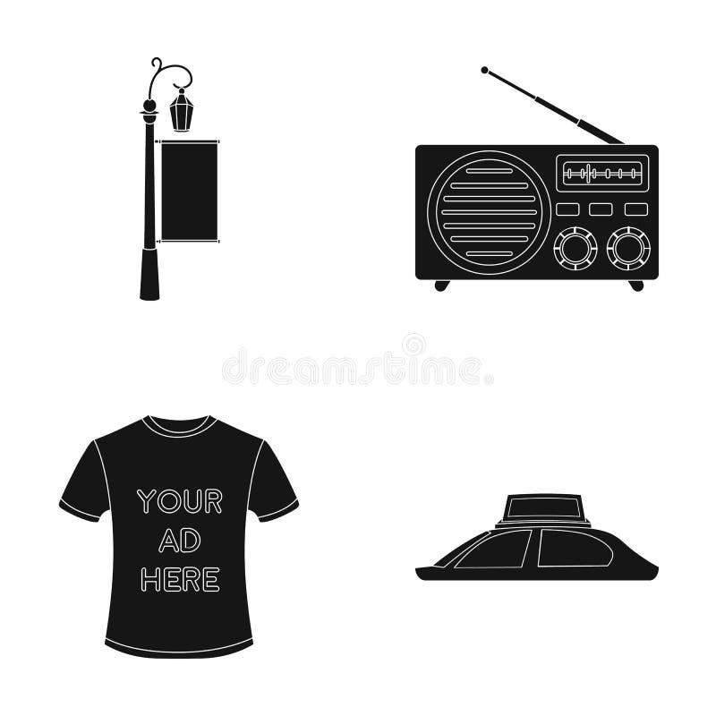 En lyktstolpe med ett tecken, en T-tröja med en inskrift, en radio, ett biltak Ställ in samlingssymboler i svart, annonsera stock illustrationer