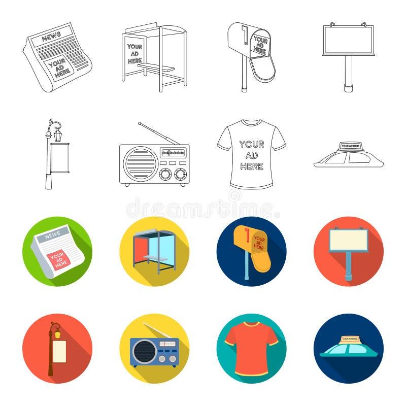 En lyktstolpe med ett tecken, en T-tröja med en inskrift, en radio, ett biltak Ställ in samlingssymboler i översikt, annonsera royaltyfri illustrationer
