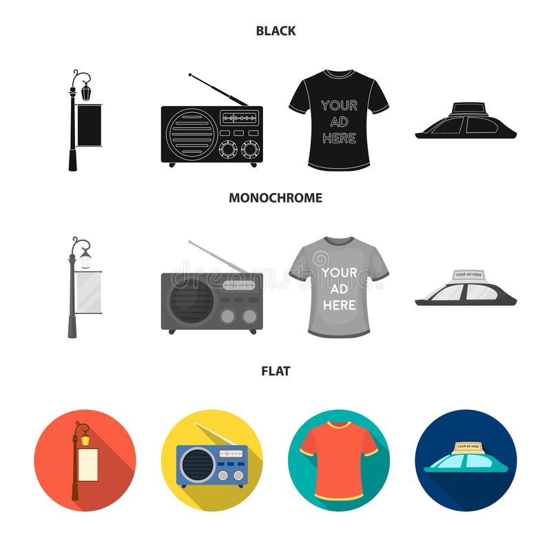 En lyktstolpe med ett tecken, en T-tröja med en inskrift, en radio, ett biltak Ställ in samlingssymboler i svart, annonsera vektor illustrationer