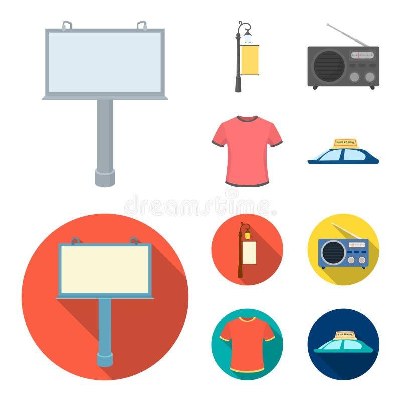 En lyktstolpe med ett tecken, en T-tröja med en inskrift, en radio, ett biltak Ställ in samlingssymboler i tecknad film, annonser royaltyfri illustrationer