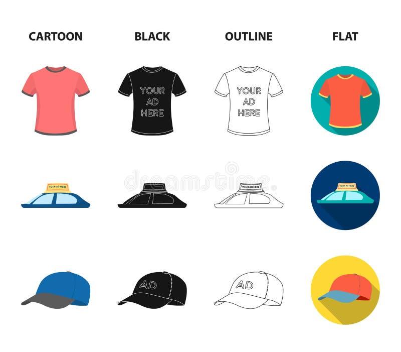 En lyktstolpe med ett tecken, en T-tröja med en inskrift, en radio, ett biltak Ställ in samlingssymboler i tecknad film, annonser vektor illustrationer