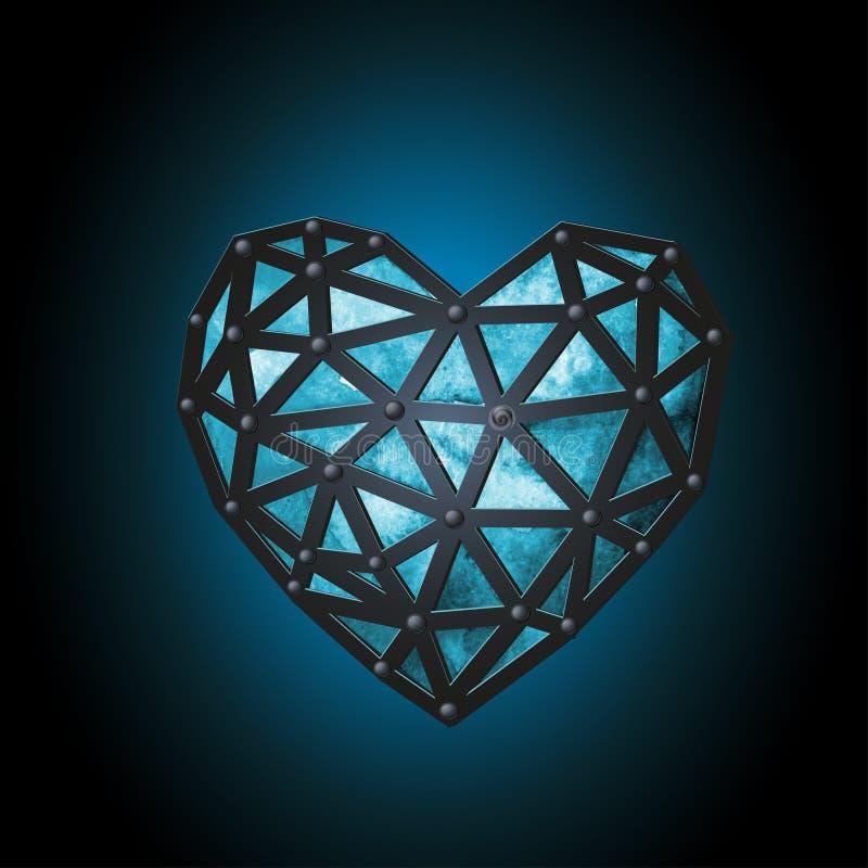 En lysande blå ishjärta som binds med läderremmar Polygonal design för vattenfärg fotografering för bildbyråer