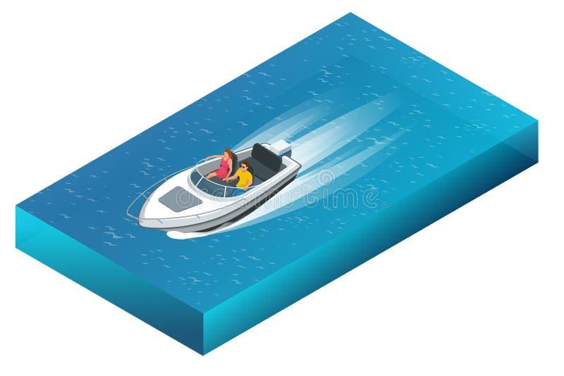 En lyxig powerboat med mannen och kvinnan som kryssar omkring till och med härligt blått vatten Isometrisk illustration för plan  stock illustrationer