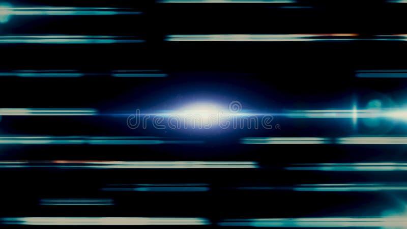En mäktig horisontalrörelse av brutna linjer för neon som flödar och bliking på svart utrymmebakgrund djur stock illustrationer