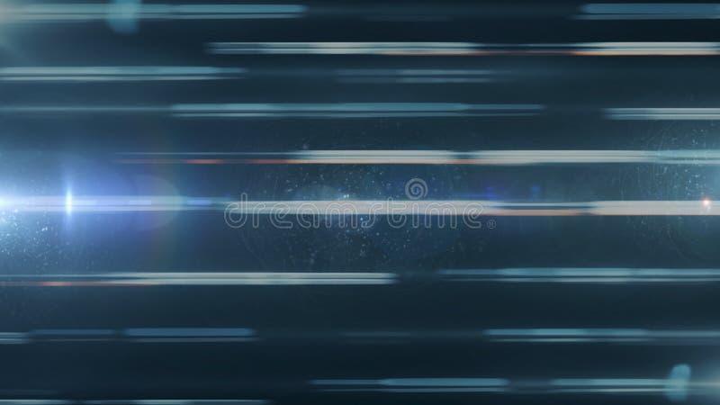 En mäktig horisontalrörelse av brutna linjer för neon som flödar och bliking på svart utrymmebakgrund djur royaltyfri illustrationer