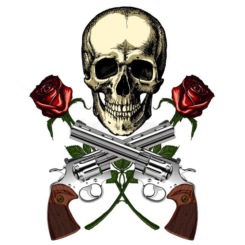 En mänsklig skalle med två vapen och två röda rosor stock illustrationer