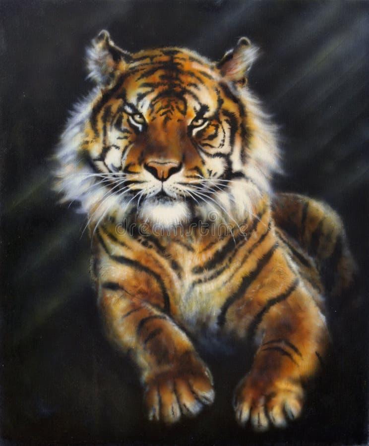 En målning av en tiger på svart bakgrund vektor illustrationer