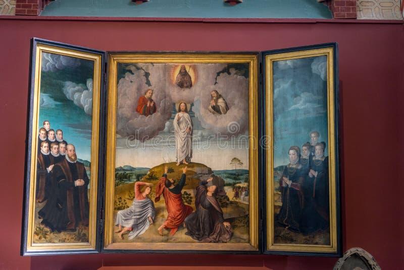 En målning av jesus Chrst i staden av Bruges royaltyfri foto
