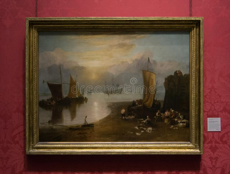 En målning av Joseph Mallord William Turner i National Gallery i London fotografering för bildbyråer