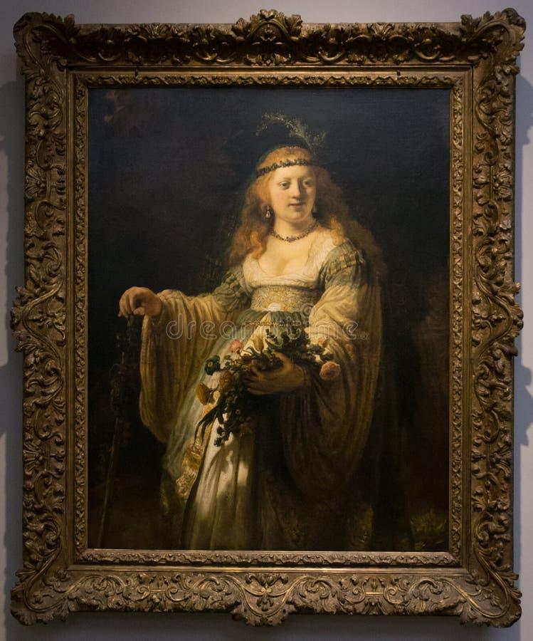 En målning av Rembrandt i National Gallery i London royaltyfri fotografi