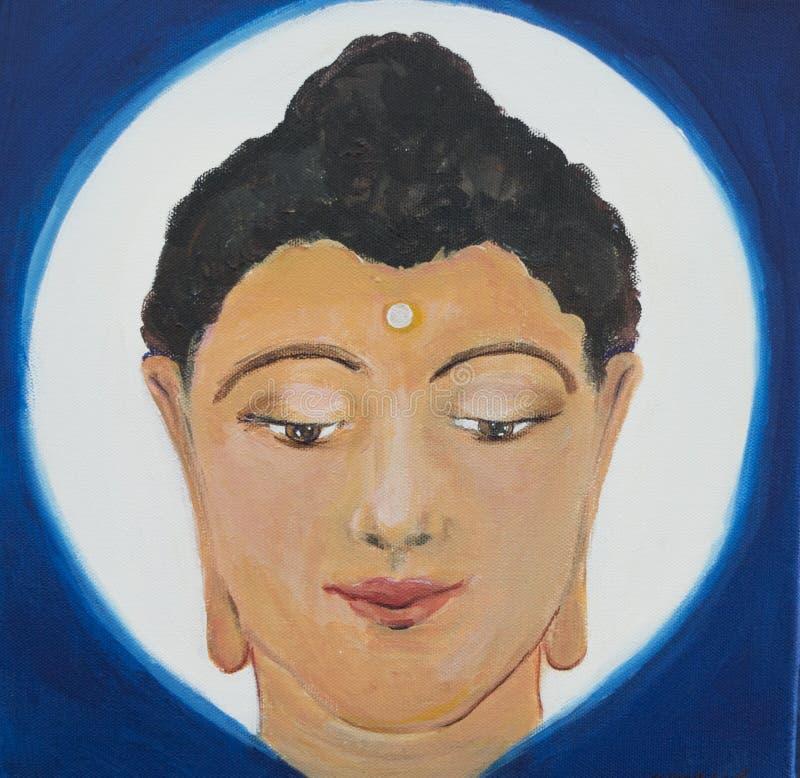 En målning, illustration av ett Buddhahuvud på en blått och vitbakgrund arkivfoton