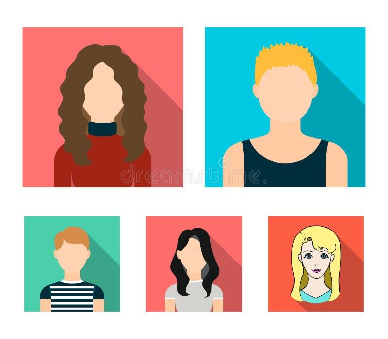 En mörk flicka, en redheaded pojke, enhaired kvinna Ett tonårs- blont Fastställda samlingssymboler för Avatar i plan stilvektor vektor illustrationer
