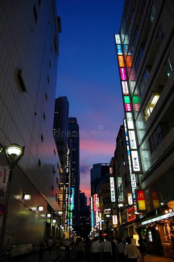 En mörk Tokyo gränd fotografering för bildbyråer