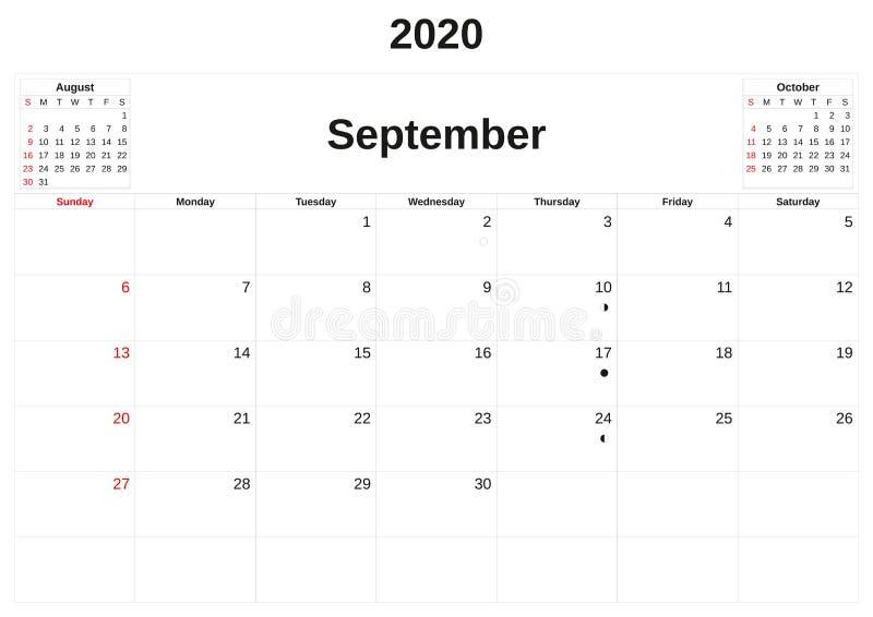 2020 en m?natlig kalender med vit bakgrund stock illustrationer