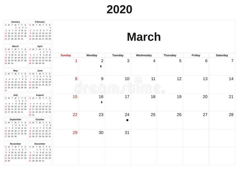 2020 en m?natlig kalender med vit bakgrund royaltyfri illustrationer