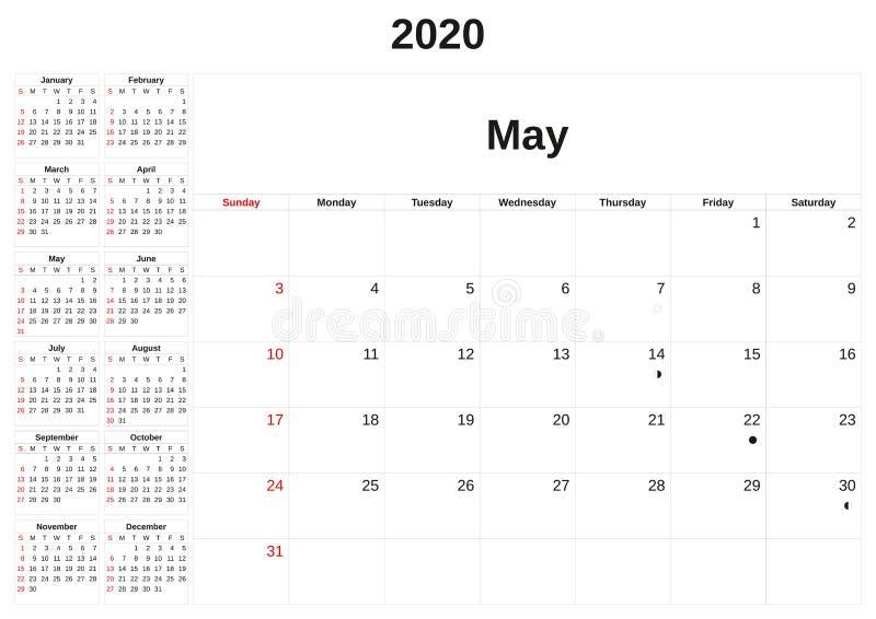 2020 en m?natlig kalender med vit bakgrund vektor illustrationer