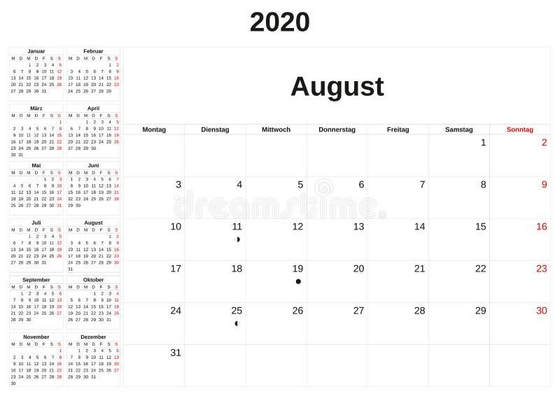 2020 en m?natlig kalender med vit bakgrund i tysk royaltyfri illustrationer