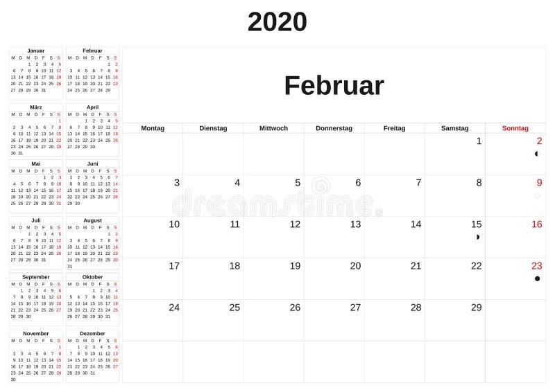 2020 en m?natlig kalender med vit bakgrund i tysk stock illustrationer