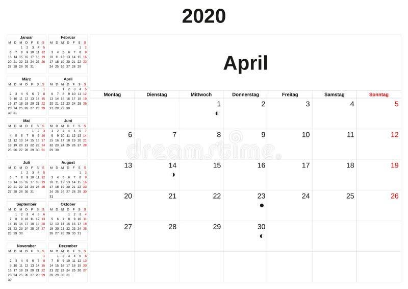 2020 en m?natlig kalender med vit bakgrund i tysk vektor illustrationer
