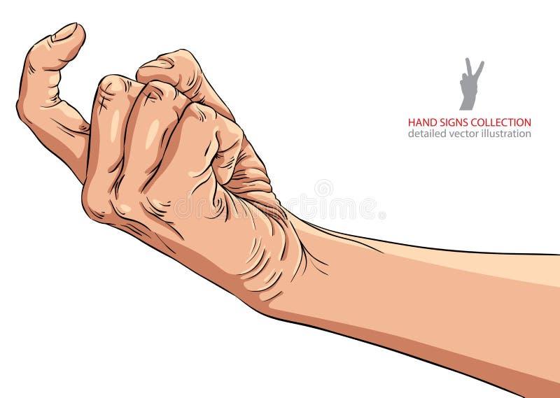 En main signe venez, illustration détaillée de vecteur illustration libre de droits