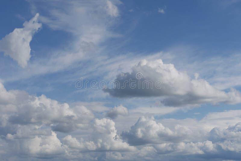 En majestätisk ändlös blå himmel med mycket massiv frodig vit fördunklar royaltyfri foto