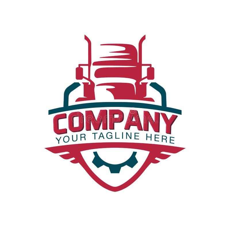 En mall av lastbillogoen, last, leverans som är logistisk royaltyfri illustrationer
