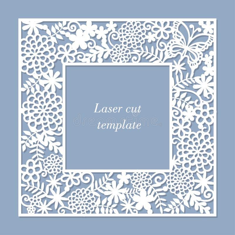 En mall för laser-klipp En fyrkantig openwork ram royaltyfri illustrationer