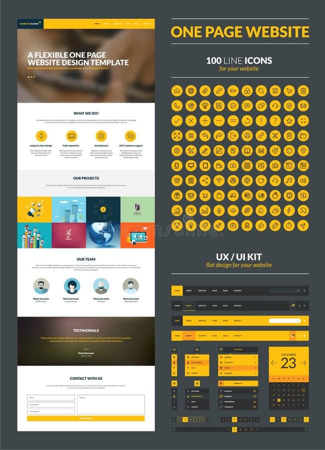 En mall för sidawebsitedesign stock illustrationer