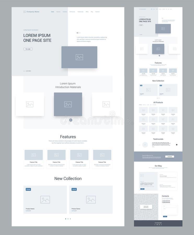 En mall för sidawebsitedesign för affär Landa sidan Wireframe Plan modern svars- design Ux uiwebsite vektor illustrationer