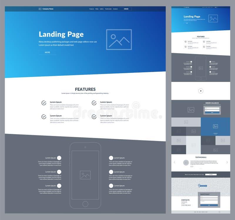 En mall för sidawebsitedesign för din affär Landa sidan Wireframe Design för Ux uiwebsite Plan modern svars- design royaltyfri illustrationer
