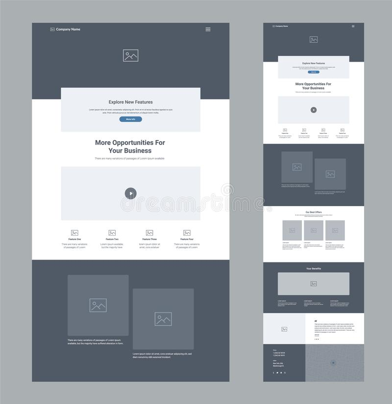 En mall f?r sidawebsitedesign f?r aff?r Landa sidan Wireframe Plan modern svars- design Mall för Ux uiwebsite royaltyfri illustrationer