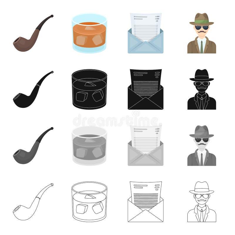 En man är en kriminalare, ett röka rör, ett exponeringsglas med alkohol, ett postkuvert Fastställda samlingssymboler för kriminal royaltyfri illustrationer