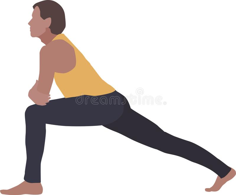 En man, en övande yoga eller en aerobics stock illustrationer