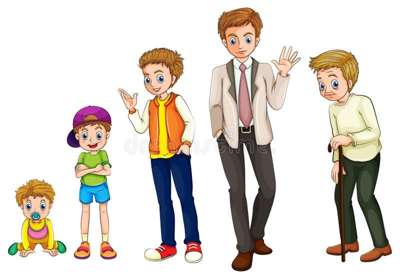 En man från barndom till vuxenlivet vektor illustrationer