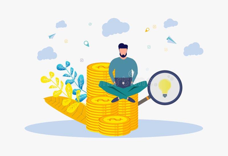 En man gör pengar på internet Metafor som är rik, framgång, idé, expertis, utbildning vektor f?r semester f?r f?rgrik begreppsill vektor illustrationer