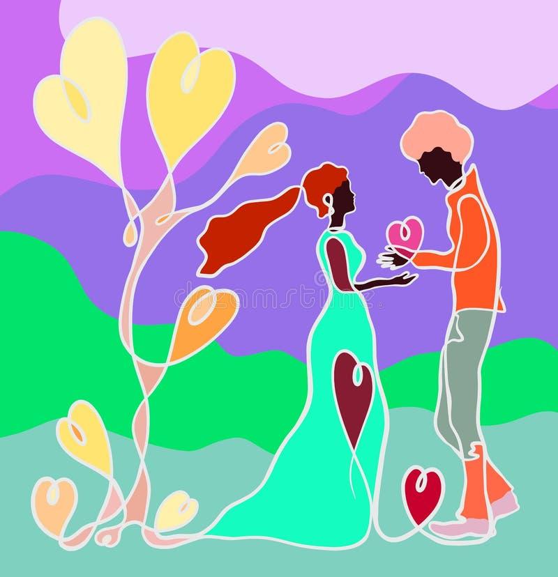 En man ger en kvinna en hjärta, ett träd av hjärtor, en idérik färgrik modell med en fortlöpande linje royaltyfri illustrationer