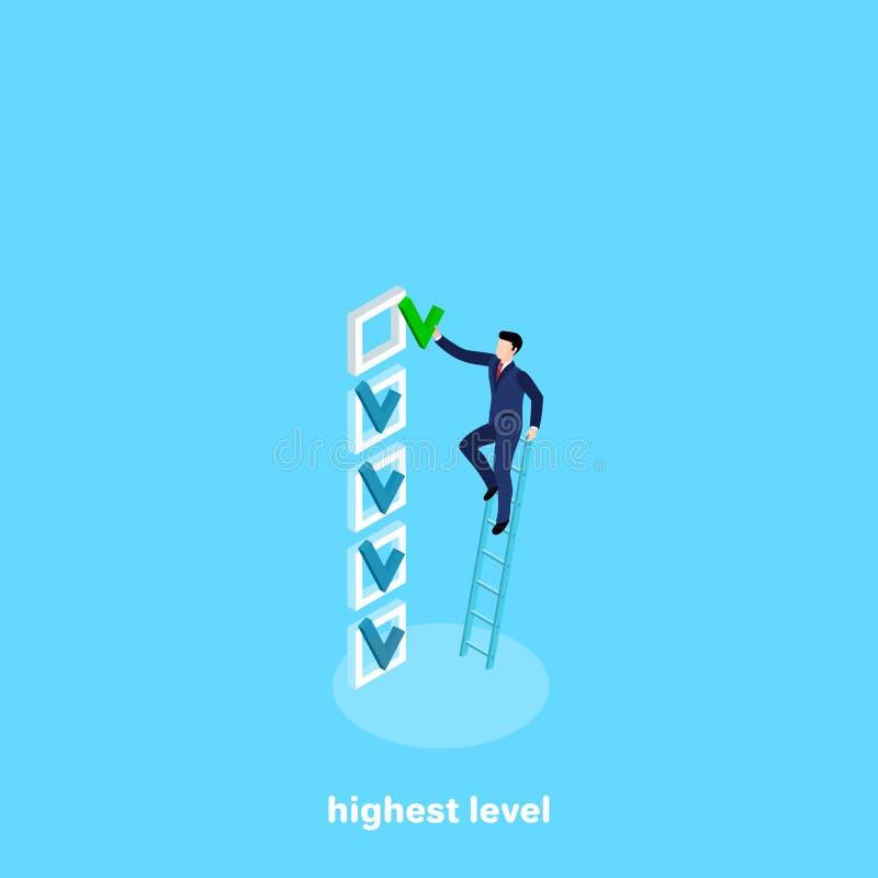 En man i en affärsdräkt klättrade trappan för att sätta en fästing i ett tomt fält stock illustrationer